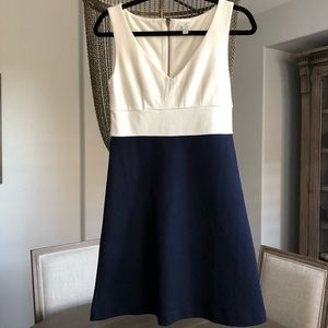 NWOT J. Crew ivory, navy color block dress, size 0